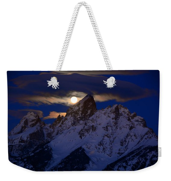 Full Moon Sets Over The Grand Teton Weekender Tote Bag