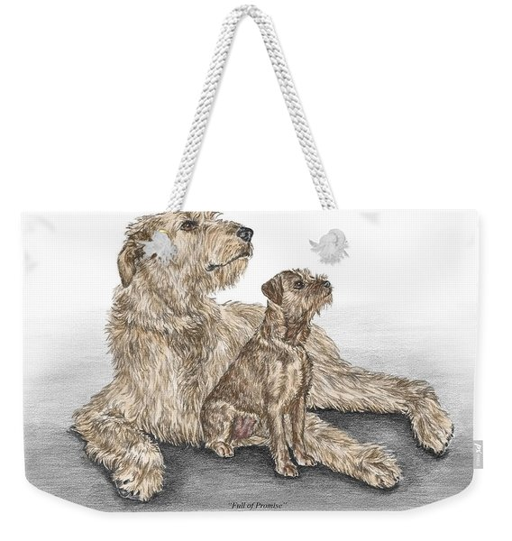 Full Of Promise - Irish Wolfhound Dog Print Color Tinted Weekender Tote Bag
