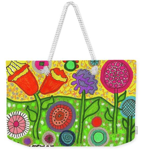 Funky Flowers All In A Row Weekender Tote Bag