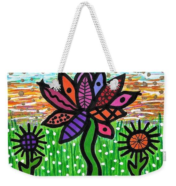 Funky Flowers At Sunset Weekender Tote Bag