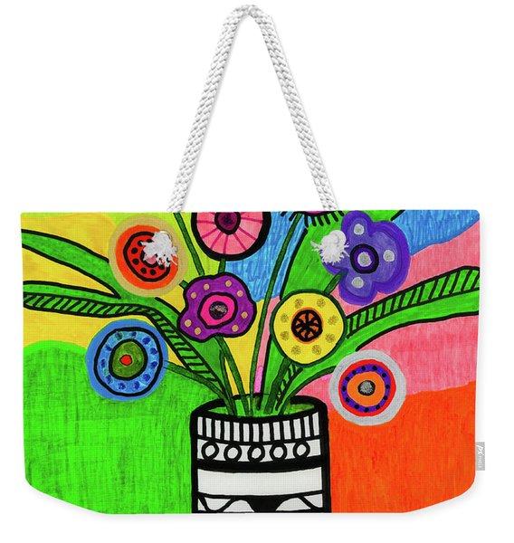 Funky Folk Flowers Weekender Tote Bag