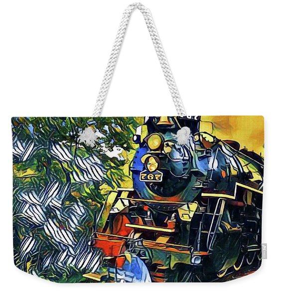 Funky Locomotive Steam Engine Weekender Tote Bag