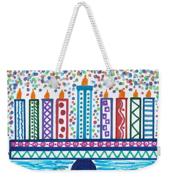 Funky Menorah  Weekender Tote Bag