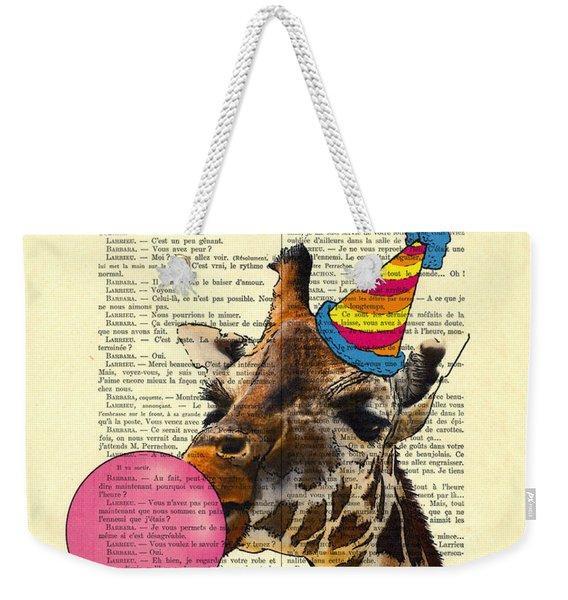 Funny Giraffe, Dictionary Art Weekender Tote Bag