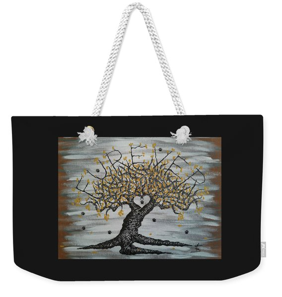 Weekender Tote Bag featuring the drawing Furever Love Tree W/ Paws by Aaron Bombalicki