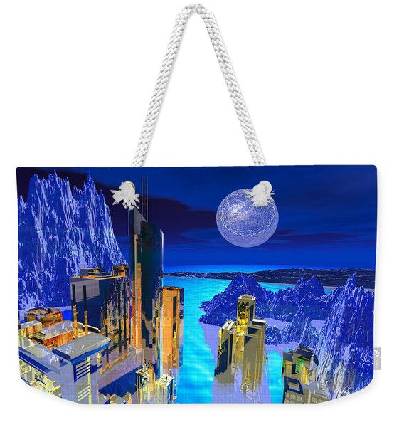 Weekender Tote Bag featuring the digital art Futuristic City by Deleas Kilgore