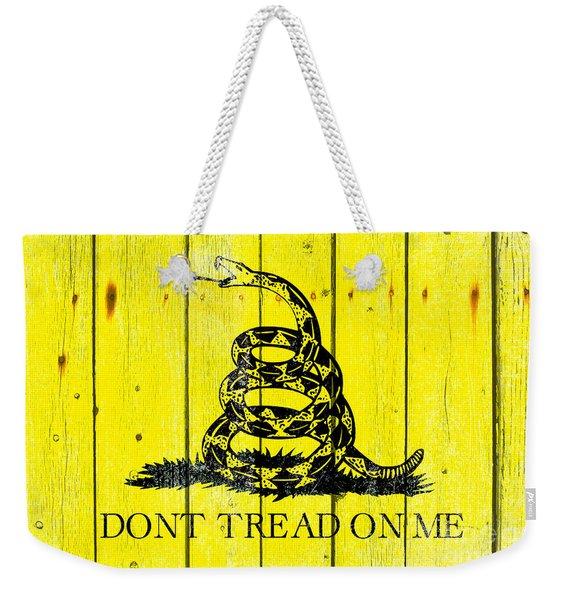 Gadsden Flag On Old Wood Planks Weekender Tote Bag