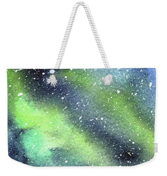 Galaxy Watercolor Nebula Northern Lights Weekender Tote Bag