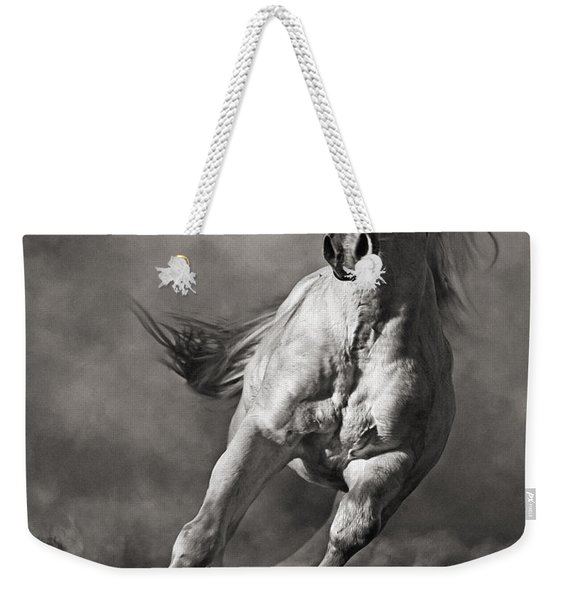 Galloping White Horse In Dust Weekender Tote Bag