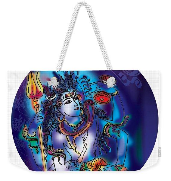 Weekender Tote Bag featuring the painting Gangeshvar Shiva by Guruji Aruneshvar Paris Art Curator Katrin Suter