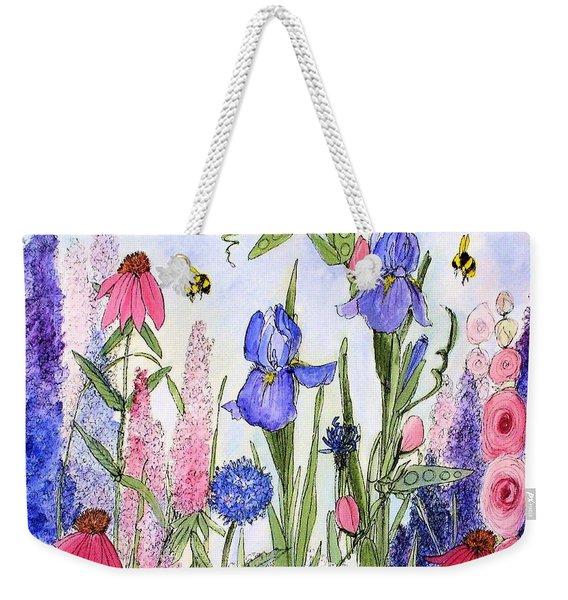 Garden Cottage Iris And Hollyhock Weekender Tote Bag