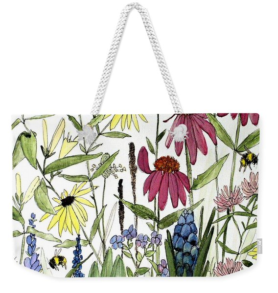 Garden Flowers With Bees Weekender Tote Bag