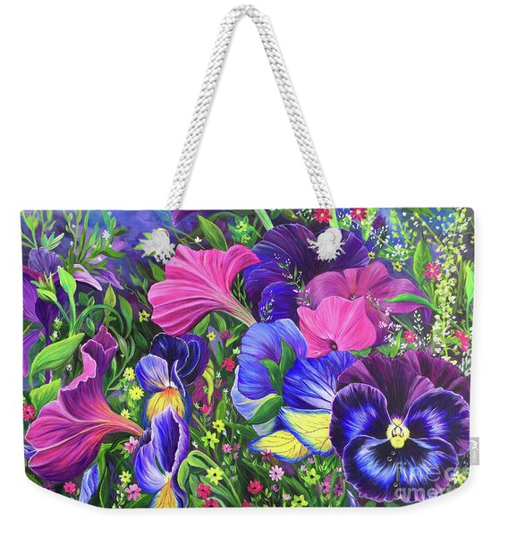 Weekender Tote Bag featuring the painting Garden Party by Nancy Cupp
