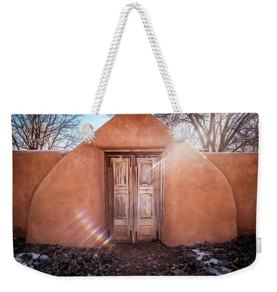 Weekender Tote Bag featuring the photograph Gate At Galisteo by Mary Lee Dereske