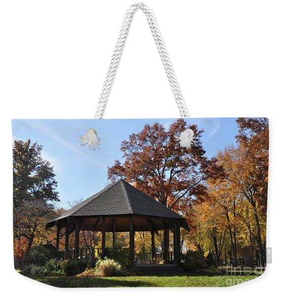 Gazebo At North Ridgeville - Autumn Weekender Tote Bag