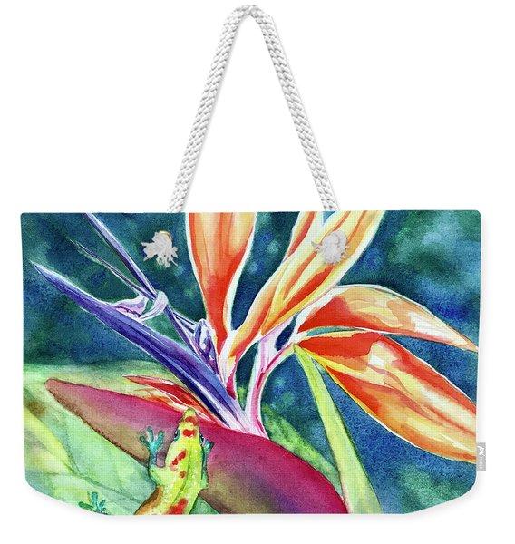 Gecko On Bird Of Paradise Weekender Tote Bag