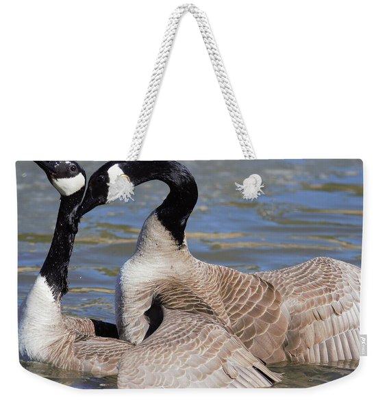 Weekender Tote Bag featuring the digital art Geese In Love by Margarethe Binkley