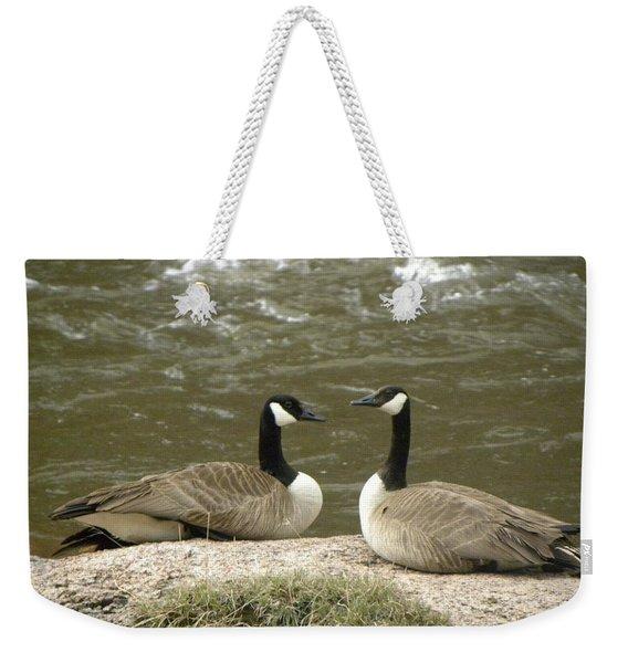 Weekender Tote Bag featuring the photograph Geese Platt River Deckers Co by Margarethe Binkley