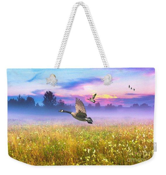 Geese In The Mist Weekender Tote Bag