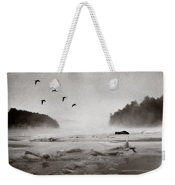 Weekender Tote Bag featuring the photograph Geese Over Great Bay by Wayne King