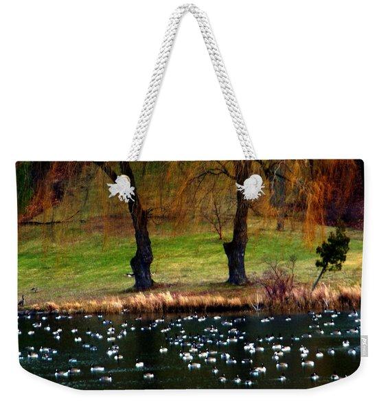 Geese Weeping Willows Weekender Tote Bag