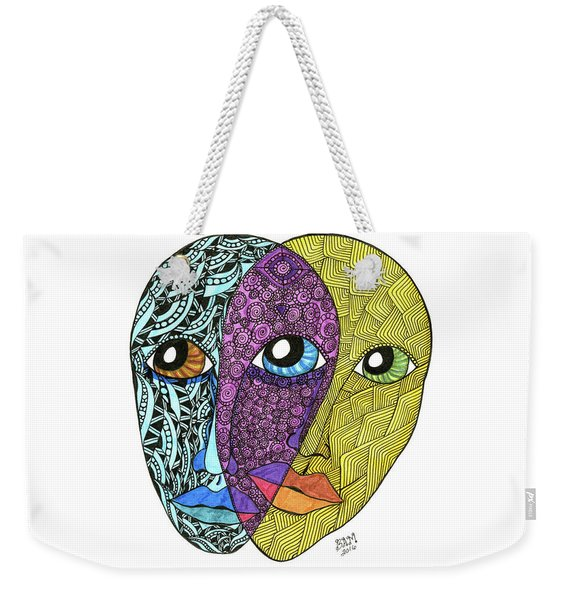 Weekender Tote Bag featuring the drawing Gemini by Barbara McConoughey