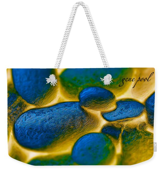 Weekender Tote Bag featuring the digital art Gene Pool Blue by ISAW Company