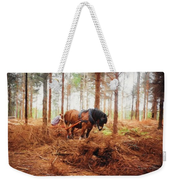 Gentle Giant - Horse At Work In Forest Weekender Tote Bag