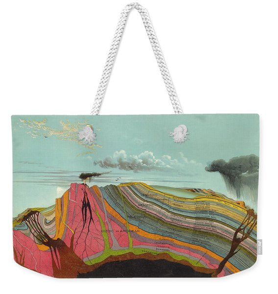 Geological Chart - Cross Section Of The Earth's Crust - Old Illustrated Atlas - Terrestrial Chart Weekender Tote Bag