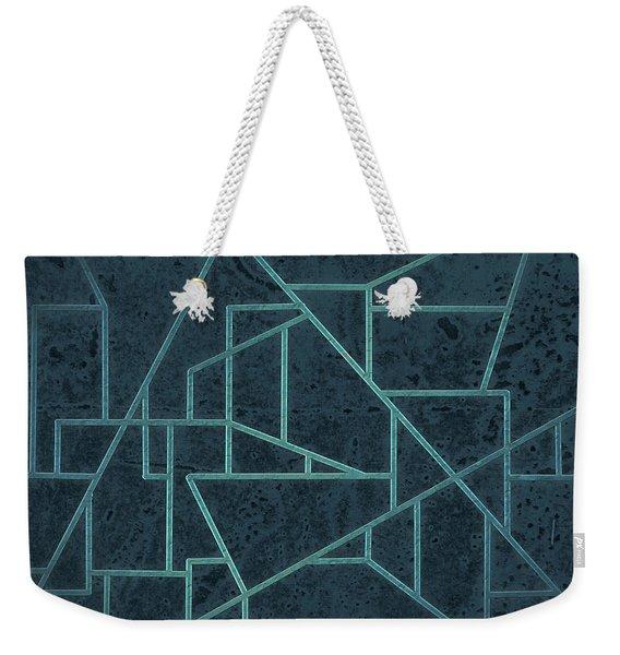 Geometric Abstraction In Blue Weekender Tote Bag