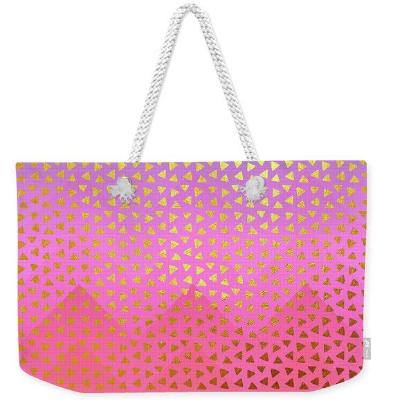 Geometry, Golden Triangles Over Colorful Chevron Pattern Weekender Tote Bag