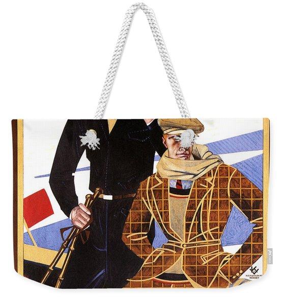 Georg Moehrlin - Ravensburg - Vintage German Fashion Advertising Poster - Wintersport Weekender Tote Bag