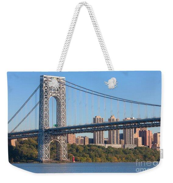 George Washington Bridge And Lighthouse II Weekender Tote Bag