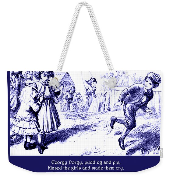 Weekender Tote Bag featuring the painting Georgy Porgy Mother Goose Illustrated Nursery Rhyme by Marian Cates