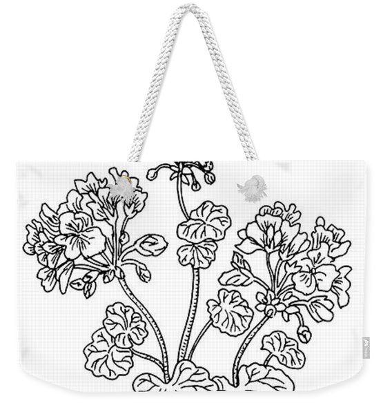 Geranium Flower Botanical Drawing  Weekender Tote Bag