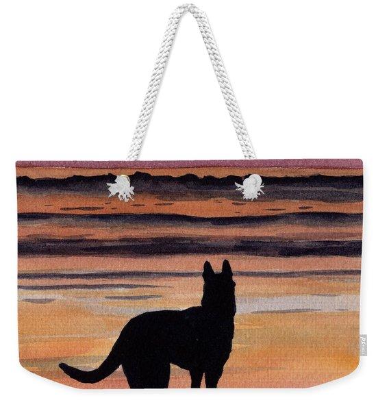German Shepherd At Sunset Weekender Tote Bag