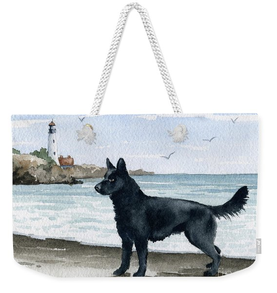 German Shepherd At The Beach Weekender Tote Bag