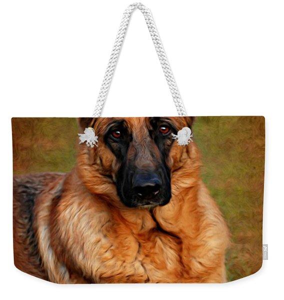German Shepherd Dog Portrait  Weekender Tote Bag