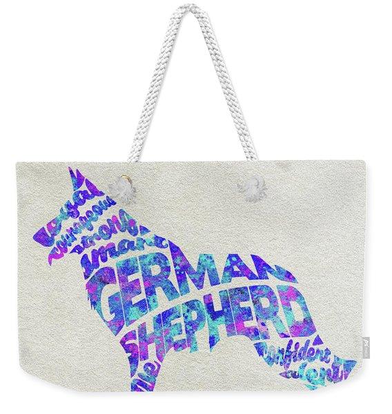 German Shepherd Dog Watercolor Painting / Typographic Art Weekender Tote Bag
