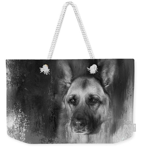 German Shepherd In Black And White Weekender Tote Bag