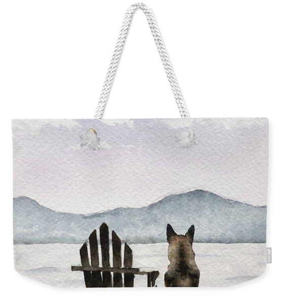 German Shepherd On The Dock Weekender Tote Bag