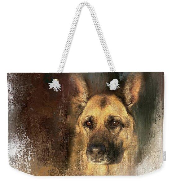 German Shepherd Portrait Color Weekender Tote Bag