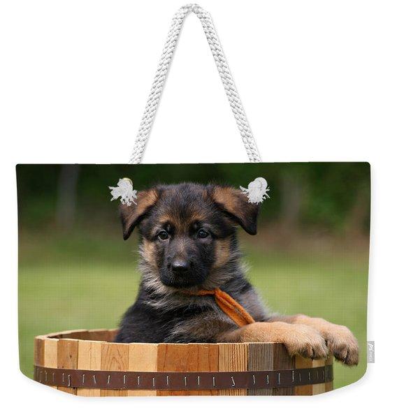 German Shepherd Puppy In Planter Weekender Tote Bag