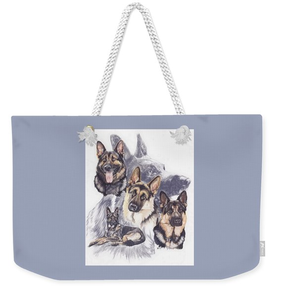Weekender Tote Bag featuring the mixed media German Shepherd Medley by Barbara Keith
