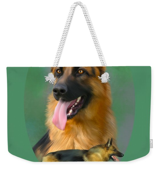 German Shepherd With Name Logo Weekender Tote Bag