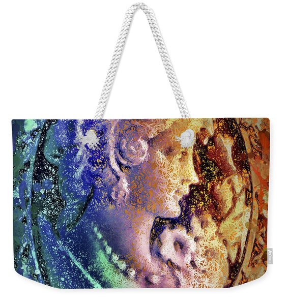 Weekender Tote Bag featuring the mixed media Gertrude's Cameo by Al Matra