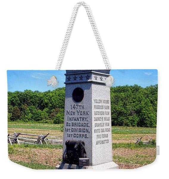 Gettysburg National Park 147th New York Infantry Memorial Weekender Tote Bag
