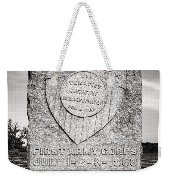 Gettysburg National Park 16th Vermont Infantry Monument Weekender Tote Bag