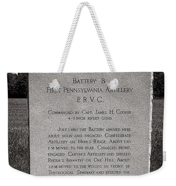 Gettysburg National Park First Pennsylvania Artillery Monument Weekender Tote Bag