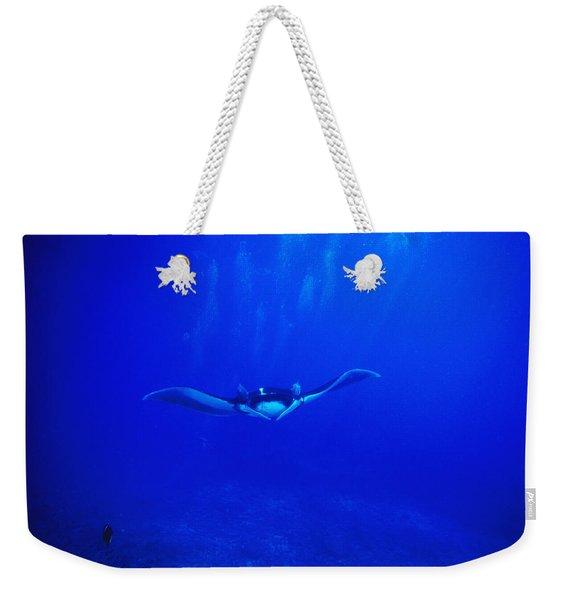 Giant Pacific Manta Ray Swimming Weekender Tote Bag